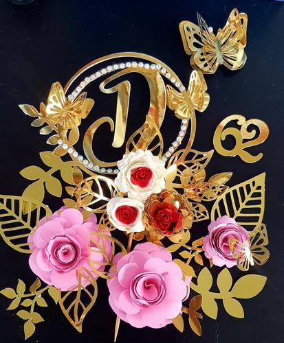 Imagem 1 de 1 de Topper Bolo Super Luxo Letra E Flores Em 3d