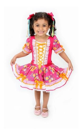 Vestido Festa Junina Infantil Floral Rosa Luxo Promoção