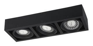 Plafon 3 Luces Ar111 Cardanico Negro Apto Led 220v Aro Móvil