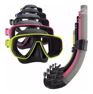 Kit Mergulho Dua Mascara Respirador Snorkel Seasub Original