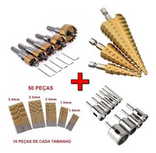 Brocas Serra Copo Aço + Escalonada + Diamantada + Titânio