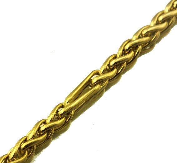 Pulseira Masculina Trançada 19 Cm Em Ouro 18k 9 Gr J21997