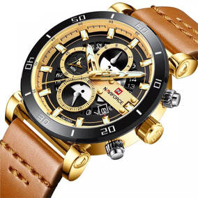 Relógio Naviforce 9131 Esportivo Cronógrafo Pulseira Couro