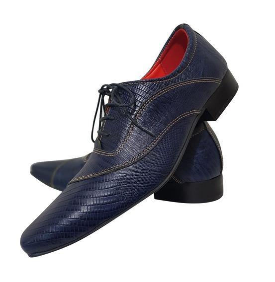 Sapato Masculino Em Couro Azul Corrugado Cod. 683
