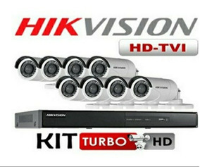 Kit Dvr 08 Ch + 08 Câmeras 15 Mt Turbo Hdtvi 720p Hikivision