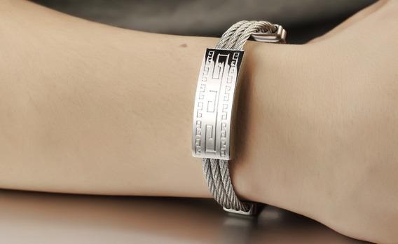 Pulseira Masculina Bracelete Aço Inoxidável Banhado Em Prata