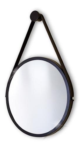 Espelho Adnet Redondo 50cm Preto Alça+pendurador Reduna