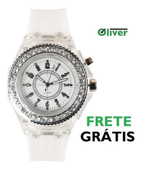 Relógio Feminino Led Cravejado Branco Festa - Baile - Have