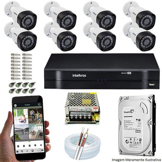 Kit Segurança Dvr 8 Canais Mhdx 8 Câmeras Vhd 1010 Intelbras
