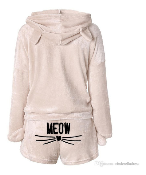 Pijama Dama Niña Meow Gato Aterciopelada Regalo Novia Amiga