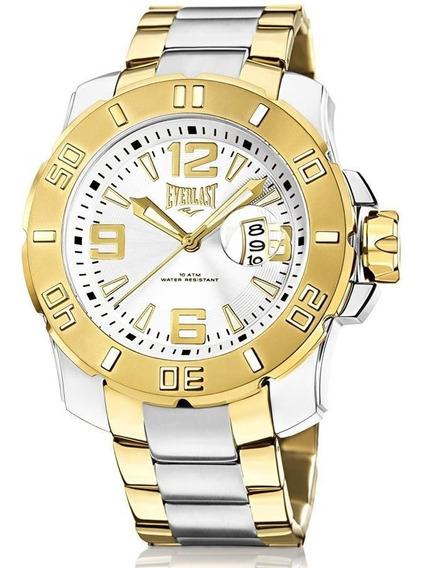 Relógio Everlast Masculino Ref: E659 Big Case Bicolor