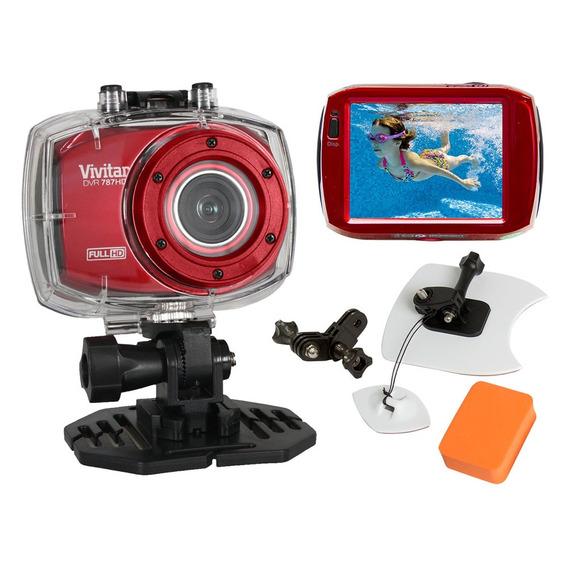 Câmera Filmadora De Ação Full Hd Vermelha E Kit Surf