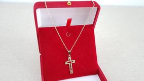 Colar Corrente Feminina Com Crucifixo Folheado A Ouro 18k