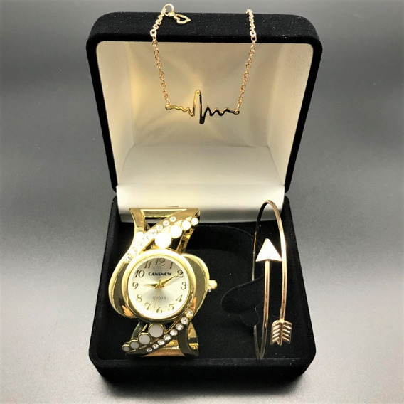 Relógio Feminino Dourado Barato Presente Criativo Namorada