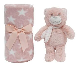 Gift Ursinho Pelucia Star Rosa Com Mantinha E Caixa Para Pre
