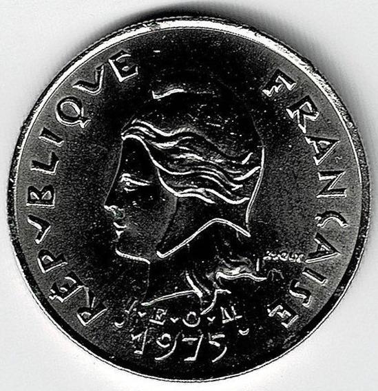 Moneda De Polinesia Francesa 10 Francos 1975 Sin Circular