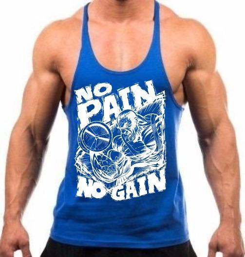 Camiseta Regata Cavada Treino Academia No Pain No Gain Azul