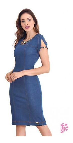 Vestido Midi Jeans Feminino Evangelico Detalhe Sol Da Terra
