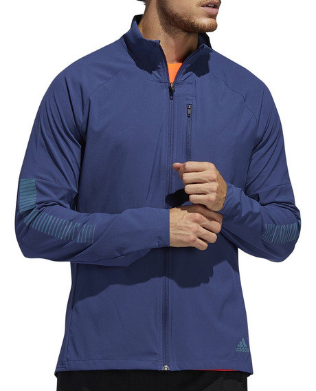 Campera Rompeviento adidas Running Rise Up Hombre Az/ce