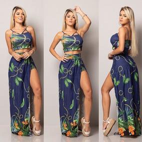 Conjunto Saia Longa Shorts Por Baixo E Cropped Strappy