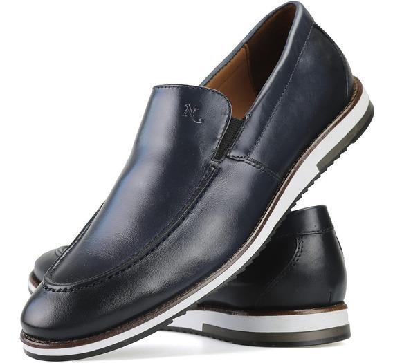 Sapato Oxford Em Couro Legitimo Slip On Azul Marinho