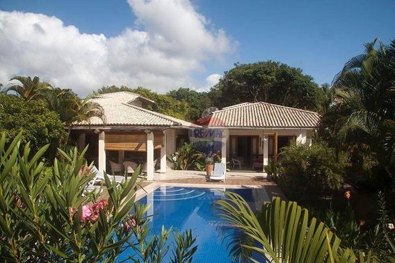 Re/max Vende Casa De Alto Padrão Mobiliada Em Condomínio Pé Na Área Na Linda E Paradisíaca Praia Do Guaiú. - Ca0121