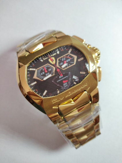 Relógio Lamborghini Dourado, Cronógrafo Preto!