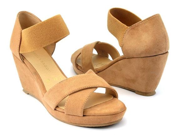 Zapato De Cuña Cruzado Suela Corrida Con Elastico Y Talonera