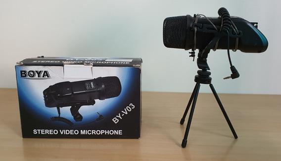 Microfone Estéreo Boya By-v03 Para Câmeras Dslr