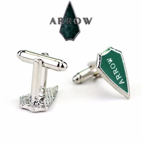 Abotoadura Par Metal Arrow Arqueiro Verde Seriado
