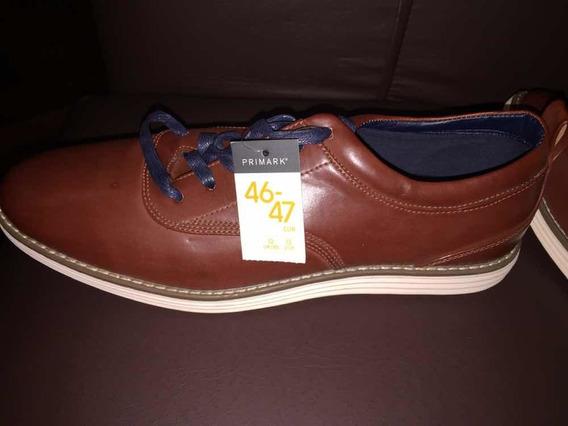 Zapatos Nuevos De Cuero Marrón Talle Grande