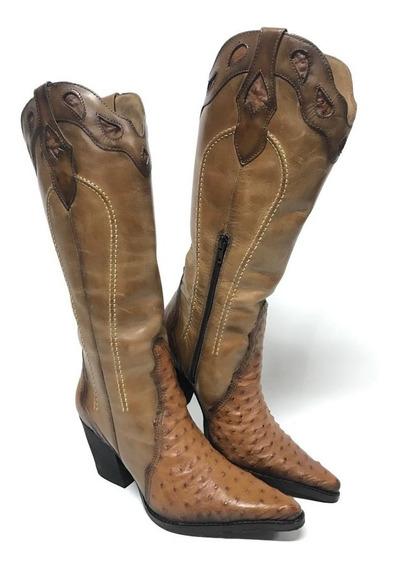 Bota Texana Country Feminina Tucson Couro Legítimo Avestruz