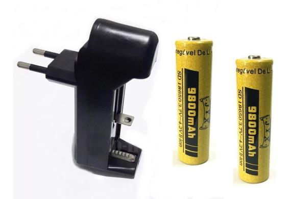 Kit 1 Carregador + 2 Bateria Recarregável 18650 P/ Lanterna