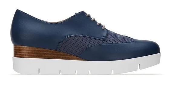 Zapato Mujer Andrea Flat Oxford Azul 2733388 Plataforma