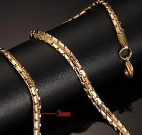 Colar Corrente Masculino Banhado Ouro 24k Luxo