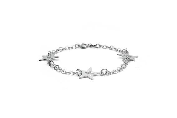 Pulseira Prata Estrelas Feminina Fashion Sofisticada Casual
