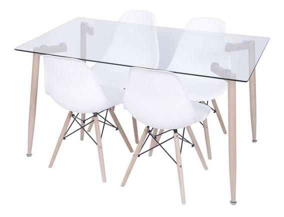 Conjunto Mesa Retangular Glass Com 4 Cadeiras Eames Branca