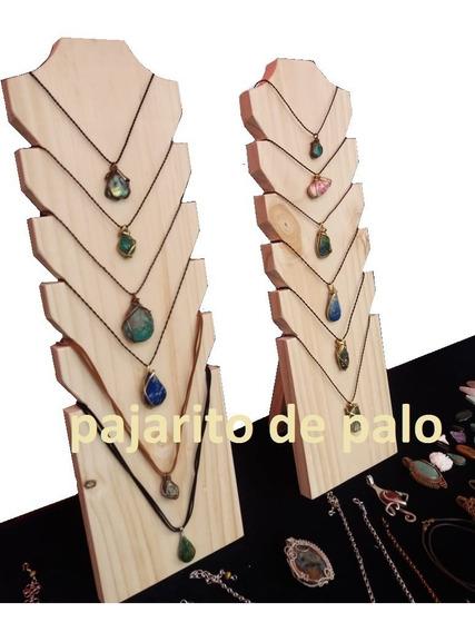 Porta Collares De Madera/ Exhibidor Para Ferias Y Locales