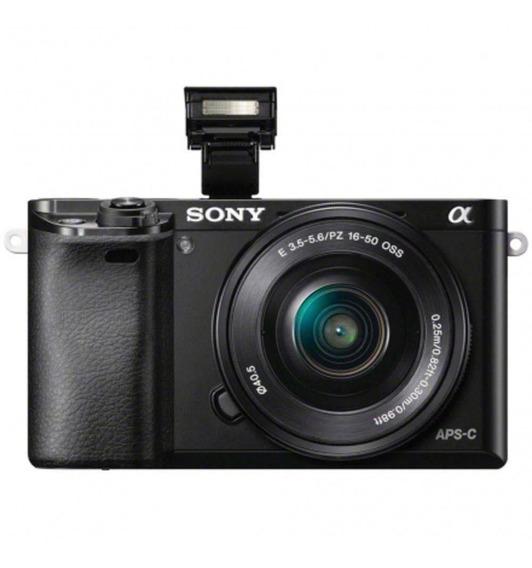 Câmera Sony Mirrorless Ilce-6000l, 24,3mp, Wifi, Lente 16-50mm - Preto