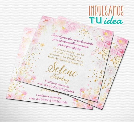 Invitación De 15 Con Flores Y Detalles Dorados Imprimible