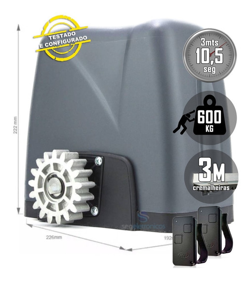Motor De Portão Rossi Dz Nano Turbo 3m Crem 2 Control 600kg