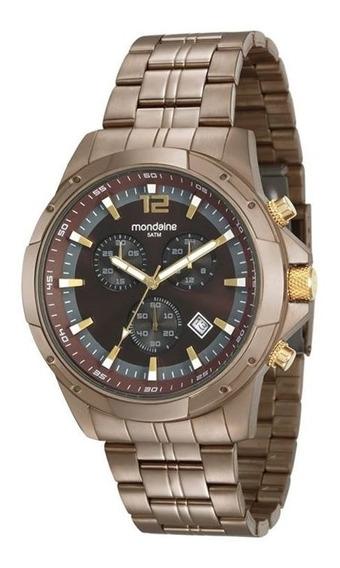 Relógio Mondaine Masculino Chocolate Aço 99177gpmvma3