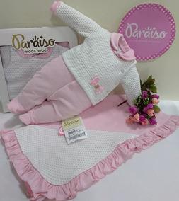 Saida Maternidade Plush Menina Paraiso Bebe Macacao Ref 9663