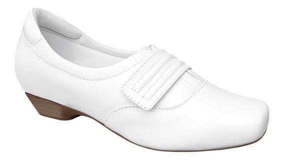 Sapato Sapatenis Branco Enfermagem Feminino Couro Neftali