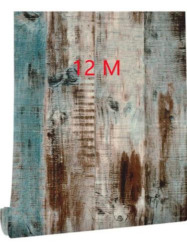 Imagen 1 de 7 de Papel Tapiz Tablas Madera Vintage Adherible Pared 12mx45cm