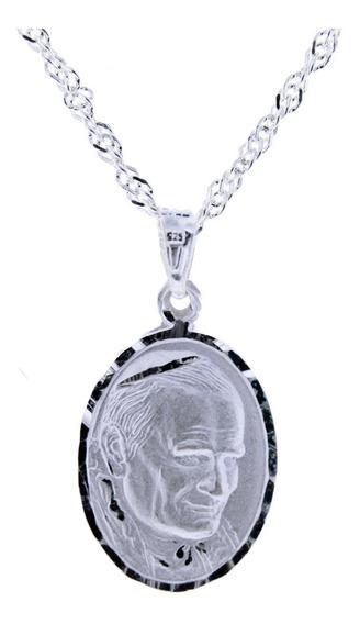 Medalla Del Papa Juan Pablo De Plata .925 +cadena 2cm Virgen