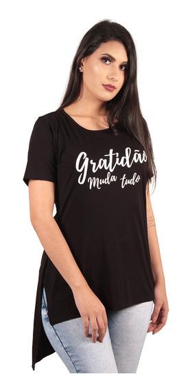Kit 5 Camiseta Long Feminina Estampada Alongada Roupa Tumblr