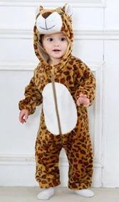 Macacão Pijama Bebê Bichinho Fantasia Leopardo.