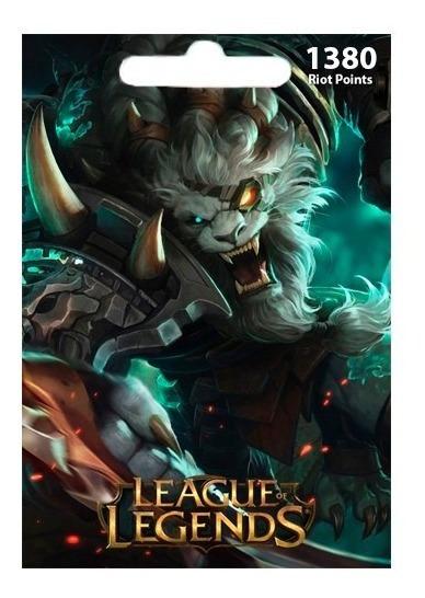 Cartão League Of Legends Lol - 1380 Riot Points Brasil Br