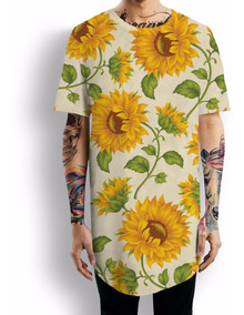 Camiseta Oversized Floral Flower Girassol Cool Tumblr